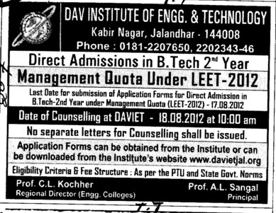 Management quota seats in B Ed (DAV Institute of Engineering and Technology DAVIET)