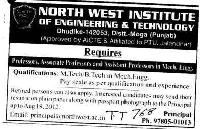 Professor, Asstt Professor and Associate Professor (North West Institute of Engineering and Technology NWIET Moga)