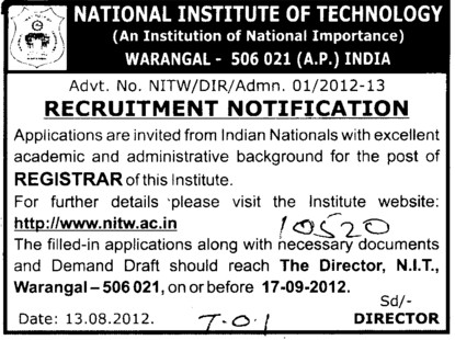 Registrar (National Institute of Technology NIT)