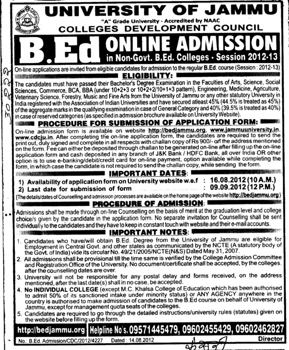 Online BEd Course (Jammu University)