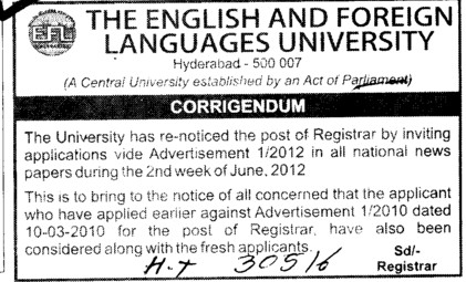 Regarding the post of registrar (English and Foreign Languages University)