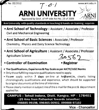 Professor, Asstt Professor and Associate Professor etc (Arni University Kathgarh)