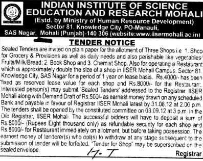 Regarding Confectionary Shops (Indian Institute of Science Education and Research (IISER))
