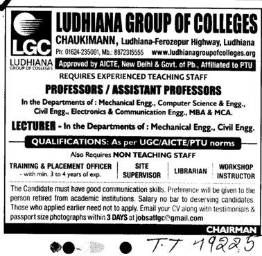 Professor, Asstt Professor and Lecturer (Ludhiana Group of Colleges (LGC) Chowkimann)