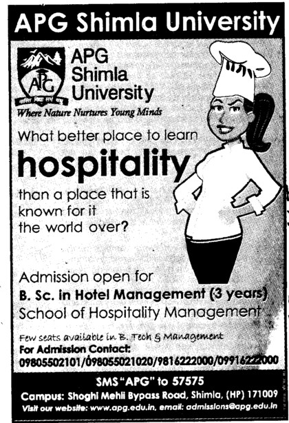 BSc in Hotel Management (APG Shimla University)