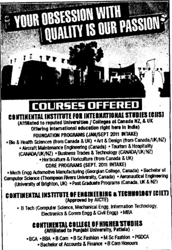 BTech in various streams (Continental Institute for International Studies)