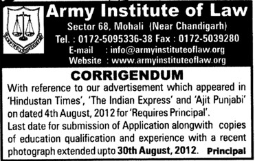 Submission of Application Form (Army Institute of Law)