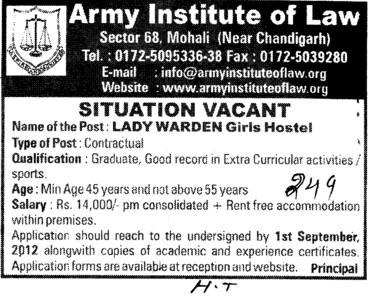 Lady Warden on contract basis (Army Institute of Law)