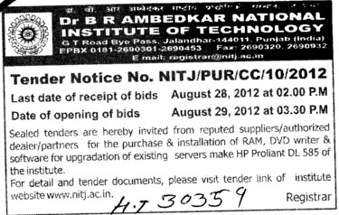 Purchase and installation of RAM and DVD writer etc (Dr BR Ambedkar National Institute of Technology (NIT))