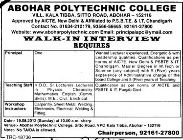 Principal and Workshop Instructor etc (Abohar Polytechnic College)