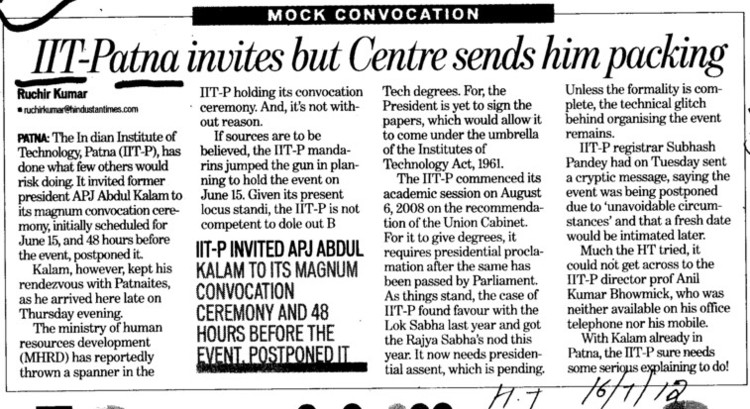 IIT patna invites but centre sends him packing (Indian Institute of Technology IIT)