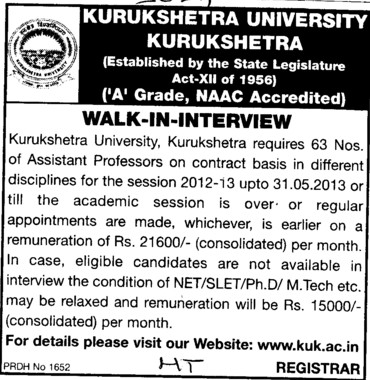 Asstt Professor on contract basis (Kurukshetra University)