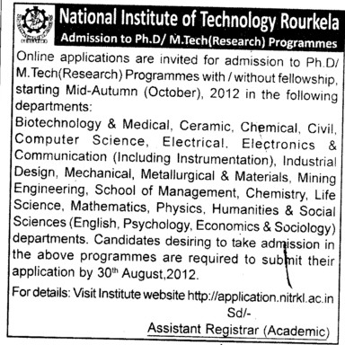 MTech and PhD Programme 2012 (National Institute of Technology (NIT))