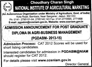 Diploma in Agri Business Management (National Institute of Agricultural Marketing (NIAM))