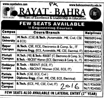 BTech, MTech and Diploma in Engg etc (Rayat and Bahra Group)