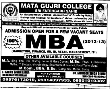 Few seats left in MBA (Mata Gujri College)