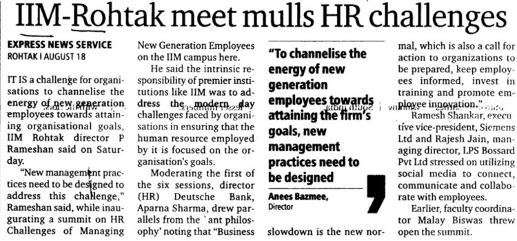 IIM Rohtak meet mulls HR Challenges (Haryana State Board of Technical Education)