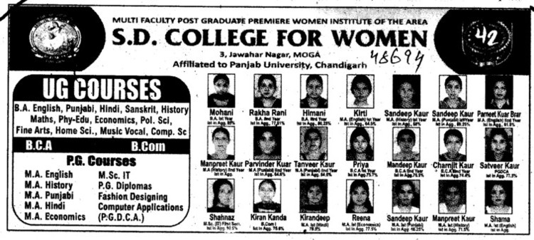 UG and PG Courses (SD College for Women)