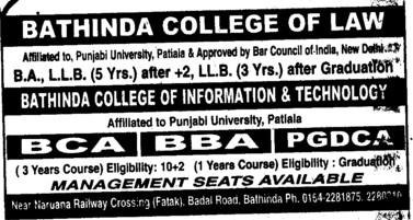 BA, BBA, BCA and LLB Courses etc (Bathinda College of Law)