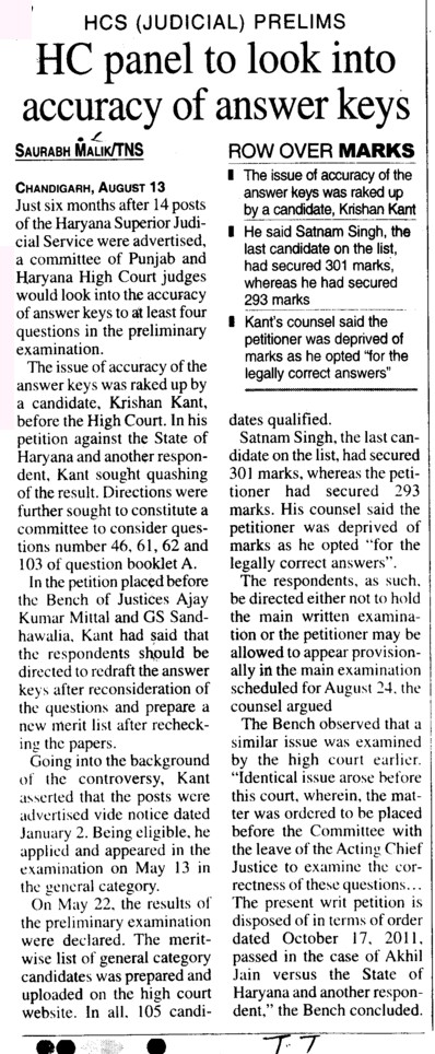 HC panel to look into accuracy of answer keys (Bar Council of Punjab and Haryana)