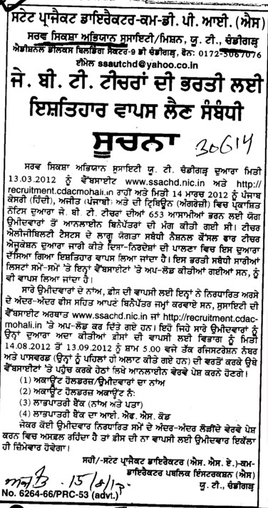 Cancellation of the post of GTB teachers (Sarva Shiksha Abhiyan SSA Punjab)