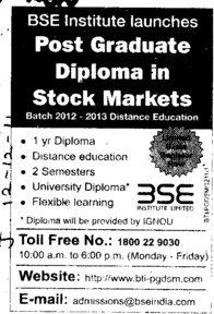 Post Graduate Diploma in Stock Markets (BSE Training Institute)