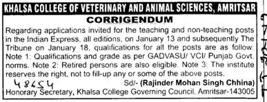 Regarding teaching posts (Khalsa College of Veterinary and Animal Sciences)