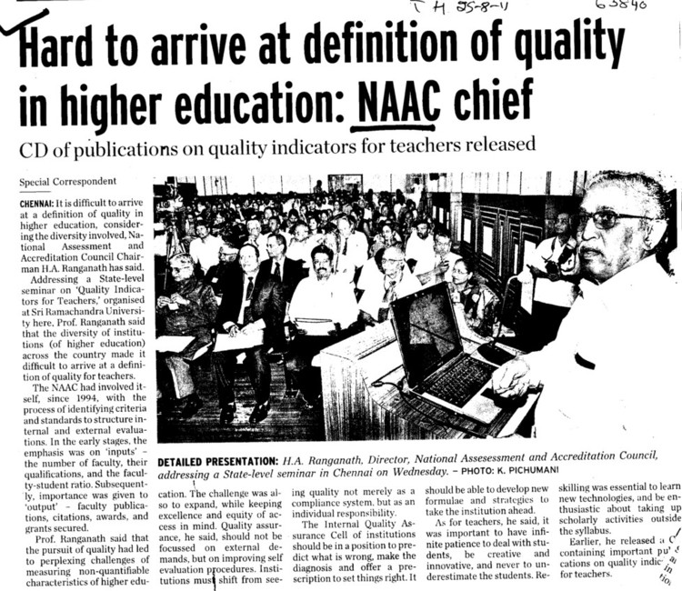 Hard to drive at defination of quality in higher education, NAAC Chief (National Assessment and Accreditation Council (NAAC))
