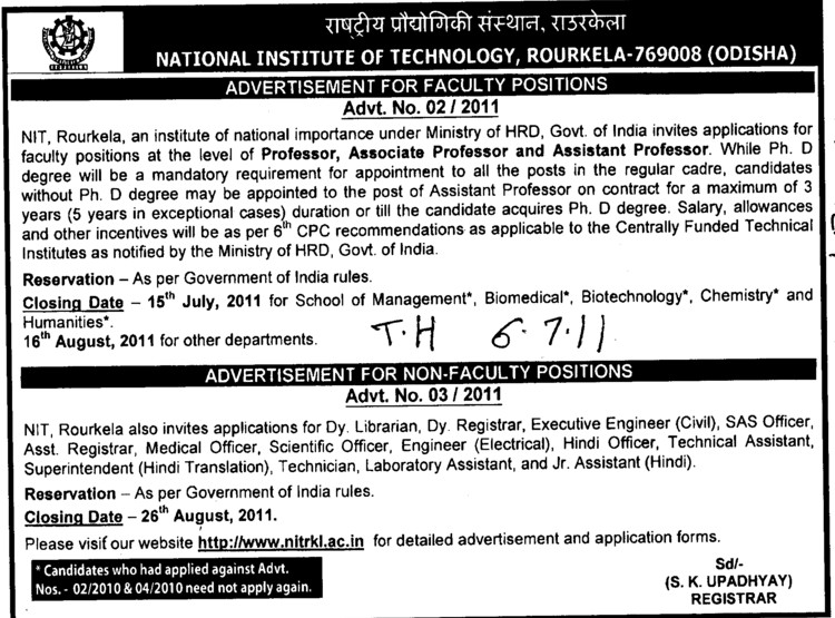 Prof, Asstt Professor and Associate Professor (National Institute of Technology (NIT))