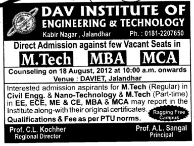 MTech, MBA and MCA Courses (DAV Institute of Engineering and Technology DAVIET)