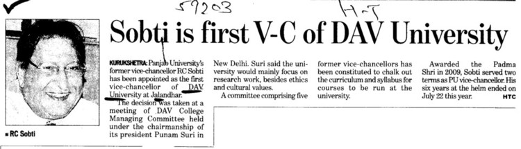 Sobti is first VC of DAV University (DAV University)