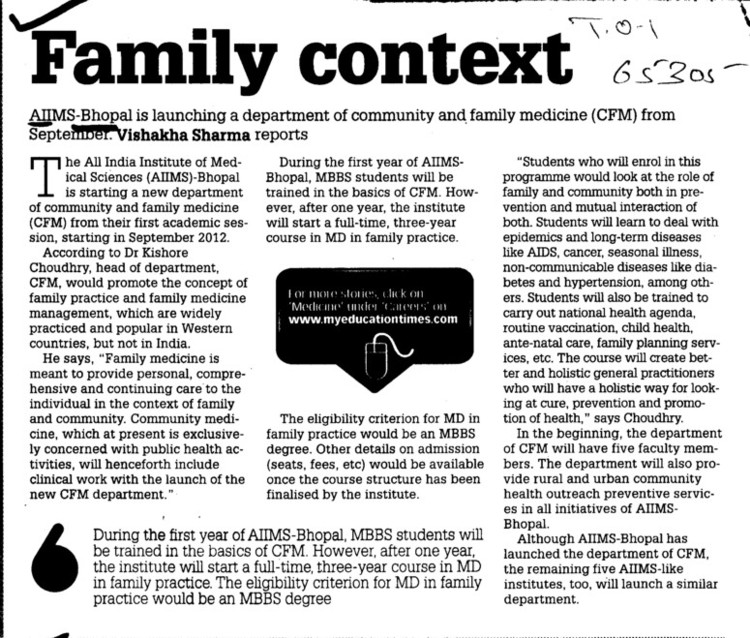 Family Context (All India Institute of Medical Sciences (AIIMS))