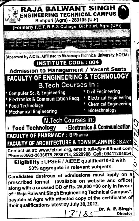 BTech and MTech Courses (Raja Balwant Singh College)