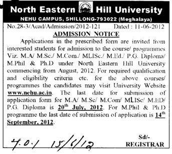 MA, MSc, MEd and PG Diploma Courses etc (North Eastern Hill University (NEHU))