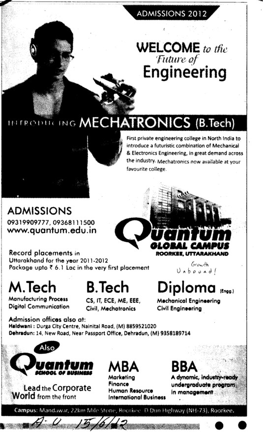 BTech, Mtech, MBA and BBA Courses etc (Quantum School of Technology (QST))