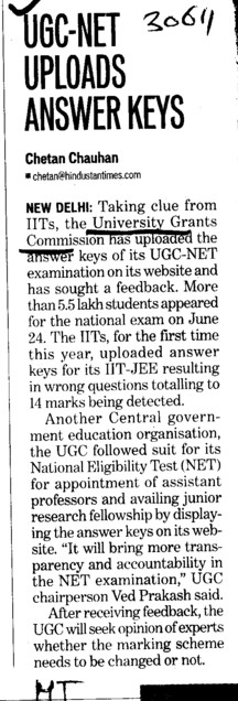 UGC NET uploads Answer keys (University Grants Commission (UGC))
