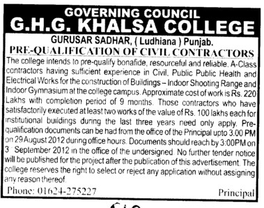 Pre Qualification of Civil Contractors (GHG Khalsa College)