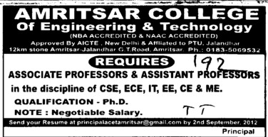 Asstt Professor and Associate Professor (Amritsar College of Engineering and Technology ACET Manawala)
