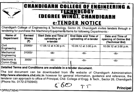 Machinery and various types of Equipments (Chandigarh College of Engineering and Technology (CCET))