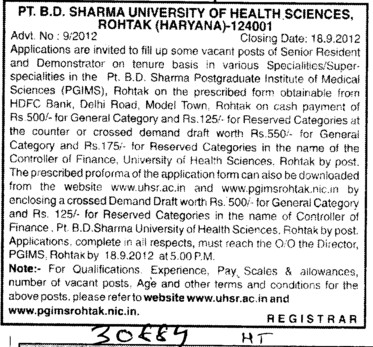 Senior Residents and Demonstrators (Pt BD Sharma University of Health Sciences (BDSUHS))