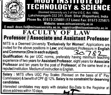 Professor, Asstt Professor and Associate Professor (Modi University of Science and Technology (MITS))
