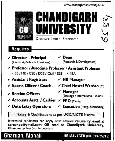 Asstt Registrar, PRO, Cashier and HR Manager etc (Chandigarh University)