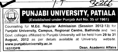 MEd on regular basis (Punjabi University)