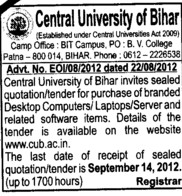 Purchase of Branded Dekstop Computers and Laptops etc (Central University of Bihar)