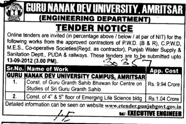 Const. of 4 th and 5 th Floor of Emerging Life Science bldg etc (Guru Nanak Dev University (GNDU))