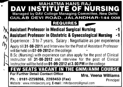 Asstt Professor in Medical Surgical and Obstetric etc (Mahatma Hans Raj DAV Institute of Nursing)