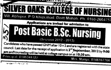 Post Basic BSc Nursing Course (Silver Oaks College of Nursing)