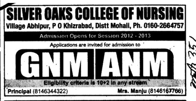 GNM and ANM Courses (Silver Oaks College of Nursing)