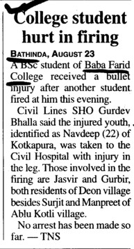College Student hurt in firing (Baba Farid College Deon)