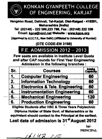 FE Course 2012 (Konkan Gyanpeeth College of Engineering)